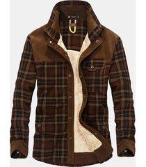 plus size casual plaid inside fleece business turn down collar giacca per uomo