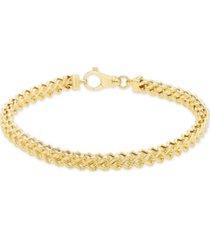 """men's polished square franco 8.5"""" link bracelet in 10k yellow gold"""