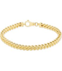 "men's polished square franco 8.5"" link bracelet in 10k yellow gold"