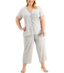 charter club plus size cotton capri pants pajamas set, created for macy's