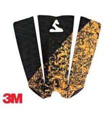 deck antiderrapante prancha surf pro soul fins fita 3m - 24 preto - laranja