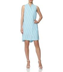 women's anne klein bias stripe sleeveless trapeze dress, size x-large - blue