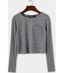 grey pocket diseño redondo cuello top de punto con mangas largas