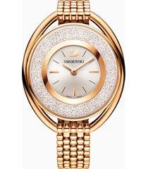 orologio crystalline oval, bracciale di metallo, bianco, pvd oro rosa