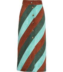 miu miu striped suede skirt - green