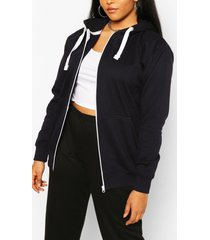 plus oversized basic zip through hoodie, navy