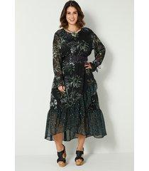 maxi-jurk sara lindholm zwart::groen