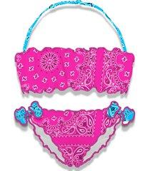 mc2 saint barth frou frou girl bandeau bikini pink bandana