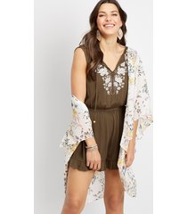 maurices womens floral embellished romper green
