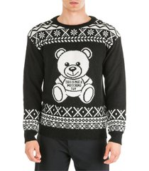 moschino crew neck neckline jumper sweater pullover fire isle teddy bear oversize fit