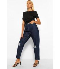 distressed boyfriend jeans met middelhoge taille, indigo