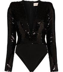alexandre vauthier plunge line sequin bodysuit - black