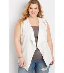 maurices plus size womens crochet trim vest white
