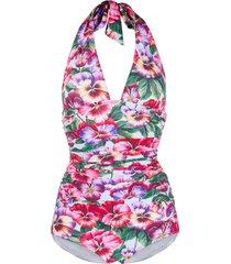 dolce & gabbana violet print swimsuit - blue