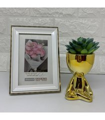 kit decorativo bob de cerã¢mica e porta retrato - dourado - feminino - dafiti