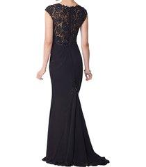 dislax cap sleeves lace chiffon sheath mother of the bride dresses black us 20pl