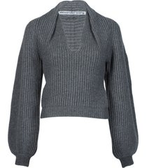 rubbed pullover with draped details