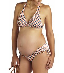 women's pez d'or 'mykonos' chevron stripe maternity bikini, size x-large - orange