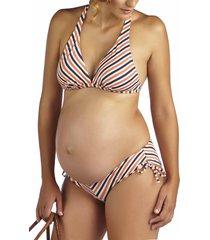 pez d'or 'mykonos' chevron stripe maternity bikini, size small in orange/navy at nordstrom
