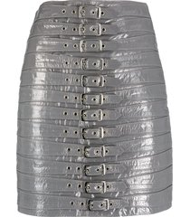 manokhi patent leather buckled mini skirt - grey