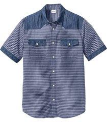 camicia a maniche corte con denim (blu) - john baner jeanswear