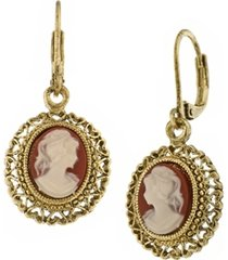 2028 gold tone simulated dark orange cameo oval drop earrings