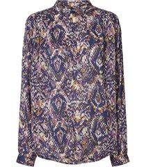 blouse met print lari  blauw