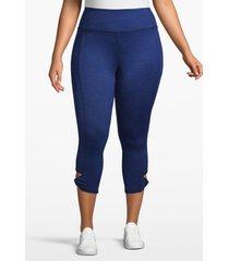 lane bryant women's active capri legging - heathered with twisted hem 18/20 bright indigo