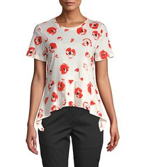 floral-print cotton flare tee