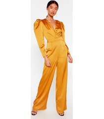womens waitin' for our entrance satin v-neck jumpsuit - mustard
