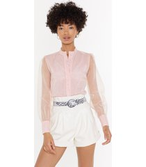 womens business in the front sheer blouse - blush
