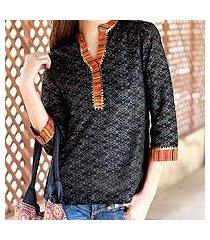 cotton tunic, 'waves of orissa' (india)