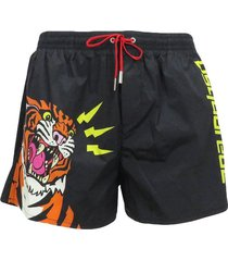 boxer swimsuit with neon yellow and tiger logo