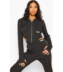 hoodie met naaddetail, charcoal