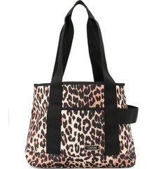 ganni leopard print recycled polyester tote bag - neutrals