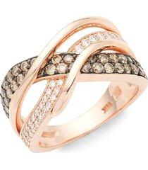 le vian women's chocolatier gladiator weave 14k strawberry gold, chocolate diamond & vanilla diamond ring/size 7 - size 7