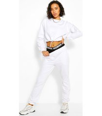 crop sweatshirt and jogger tracksuit, white