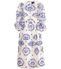 pleated dress in ivory/blue