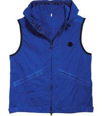 men's moncler touques hooded nylon vest, size 3 - blue