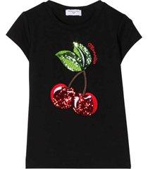 monnalisa black t-shirt with frontal application