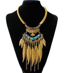 collana vintage dichiarazione turchese foglie catene nappe ciondolo collana gioielli etnici per le donne