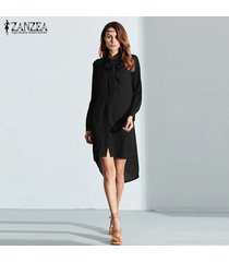 zanzea blusas de moda venta caliente camisa de mujer vestido de manga larga casual amsymetircal blusas de gasa tallas grandes s-5xl tops (negro) -negro