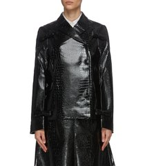 bow accent croc-embossed faux leather jacket