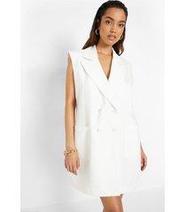 oversized mouwloze blazer jurk, white