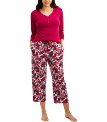 charter club long-sleeve henley pajama top, created for macy's