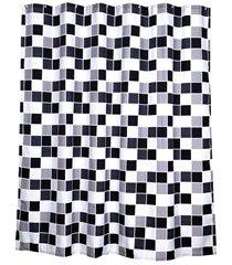 cortina para box de banheiro ladrilhos 180x180cm preta