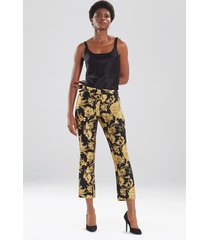 natori gold flower jacquard pants, women's, cotton, size 4