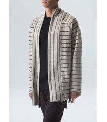 cardigan rustic stripe-preto/ offwhite