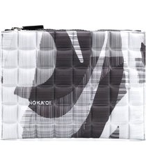 no ka' oi printed quilted pouch - grey