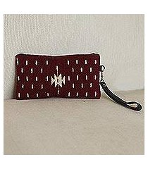 leather accented wool wristlet, 'sweet geometry in burgundy' (mexico)